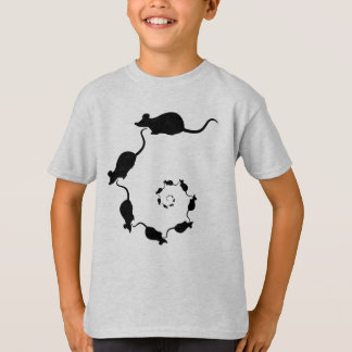 Cute Mouse Spiral. Black Mice on Cream. T-Shirt