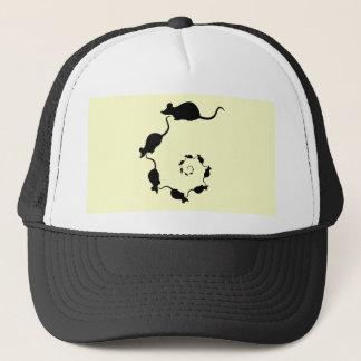 Cute Mouse Spiral. Black Mice on Cream. Trucker Hat