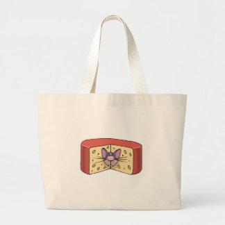 cute mouse stuck in cheese jumbo tote bag