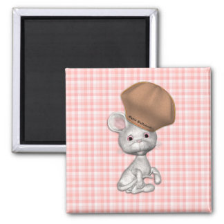 Cute Mouse with Chef's Hat Square Magnet