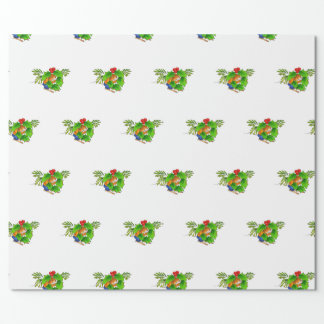 cute mouse with holly wrapping paper