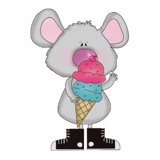 cute mouse with ice cream cone photo sculptures