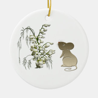 Cute Mouse with lily of the valley Ornament