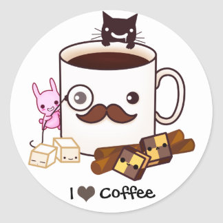 Cute moustache coffee cup and kawaii animals round sticker