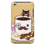 Cute moustache coffee cup with kawaii animals iPod Case-Mate cases