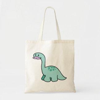 Cute Moustache Dinosaur Budget Tote Bag