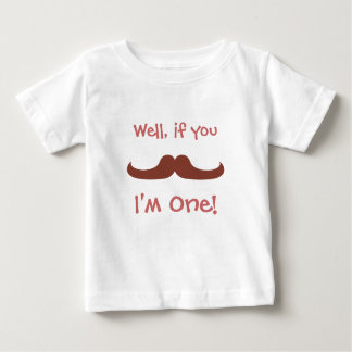 Cute Moustache, I'm One, First Birthday Baby T-Shirt
