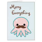 Cute Moustache Octopus Holiday Card
