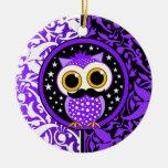 cute moustache owl christmas tree ornaments