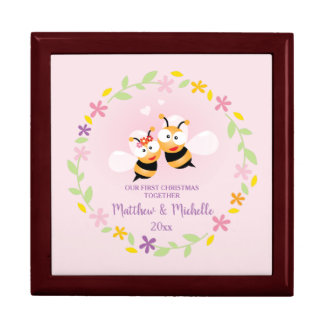 Cute Mr And Mrs Honey Bee Couple First Christmas Gift Box