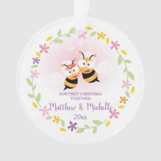 Cute Mr And Mrs Honey Bee First Christmas Keepsake Ornament