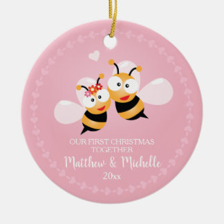 Cute Mr And Mrs Honey Bee First Christmas Together Christmas Ornament