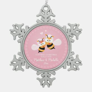 Cute Mr And Mrs Honey Bee First Christmas Together Snowflake Pewter Christmas Ornament