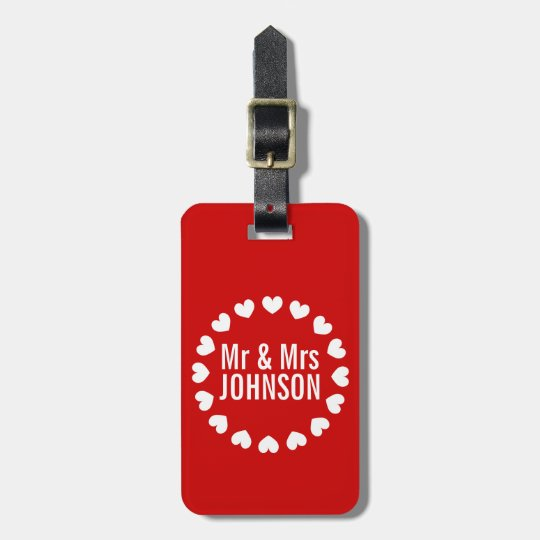 Cute Mr and Mrs monogram luggage tag for