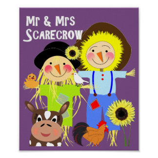 Cute Mr & Mrs Scarecrow Farm Animal Fiends Whimsy Poster
