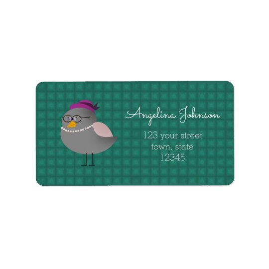 Cute Mrs Birs With Glasses Turquoise Address Label