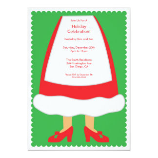 Cute Mrs. Clause Holiday Party Invitation
