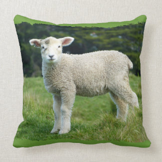 Cute Muddy Lamb in Green Meadow Cushion