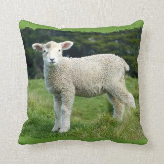 Cute Muddy Lamb in Meadow Ragged Edge Design Throw Cushions