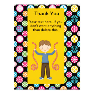 Cute Multi Color Arcade 2 Birthday Boy Thank You Custom Invitation