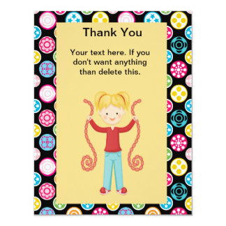 "Cute, Multi Color, Arcade 2 Birthday GirlThank You 4.25"" X 5.5"" Invitation Card"