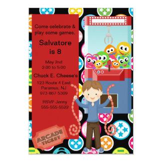 """Cute, Multi Color, Arcade Birthday Boy Invitation 5"""" X 7"""" Invitation Card"""