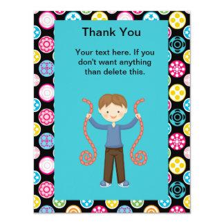 """Cute, Multi Color, Arcade Birthday Boy Thank You 4.25"""" X 5.5"""" Invitation Card"""