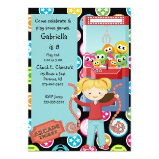 Cute, Multi Color, Arcade Birthday Girl Invitation