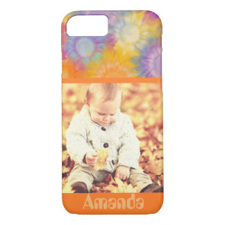 Cute multicolor flowers custom name and photo iPhone 8/7 case