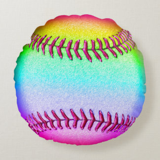 Cute Multicolored Round Softball Throw Pillow