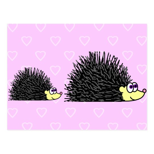 Cute Mum and Baby Hedgehog Postcard