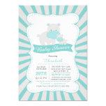 Cute Mum and Baby Hippo Boys Baby Shower 13 Cm X 18 Cm Invitation Card