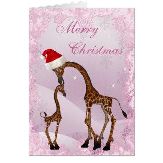 Cute Mum & Baby Giraffe Christmas Card