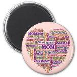 Cute Mum Mother's Day Word Art Heart 6 Cm Round Magnet