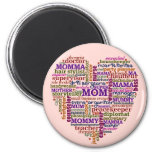 Cute Mum Mother's Day Word Art Heart 6 Cm Round Magnet