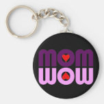 Cute Mum reflection with hearts Basic Round Button Key Ring