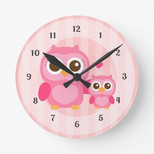 Cute Mummy and Baby Pink Owl, Girls Bedroom