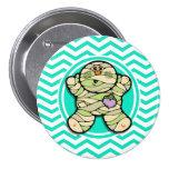Cute Mummy; Aqua Green Chevron Pinback Buttons