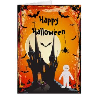 Cute Mummy, Bats & Castle Halloween Card