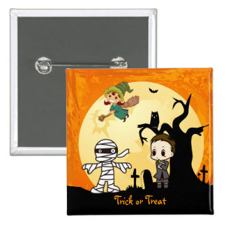 Cute Mummy Ghost Witch Priest - Kids Halloween 15 Cm Square Badge