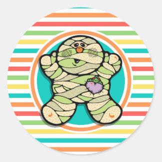 Cute Mummy on Bright Rainbow Stripes Stickers