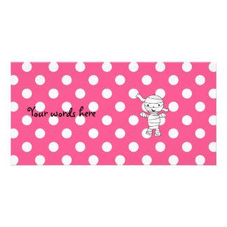 Cute mummy pink polka dots customised photo card
