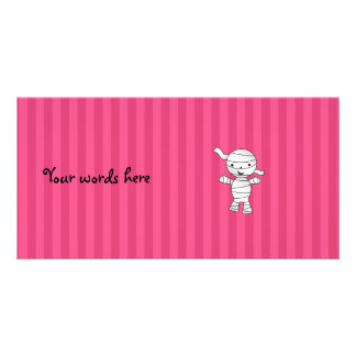 Cute mummy pink stripes customised photo card