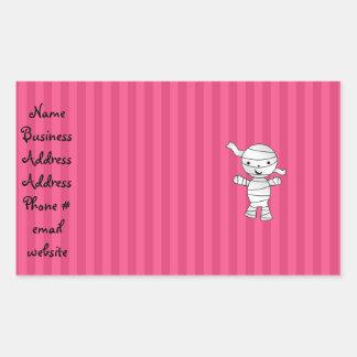 Cute mummy pink stripes rectangle sticker