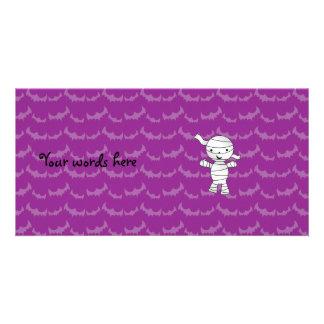 Cute mummy purple bats personalized photo card