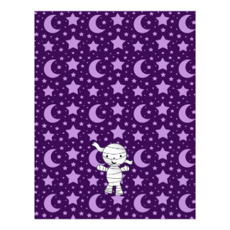 Cute mummy purple stars and moons pattern 21.5 cm x 28 cm flyer