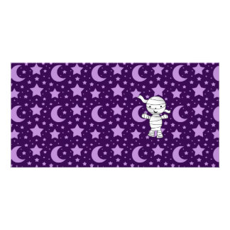 Cute mummy purple stars and moons pattern customised photo card
