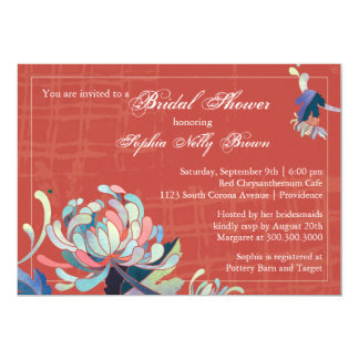 Cute Mums Rustic Red Bridal Shower Invitation