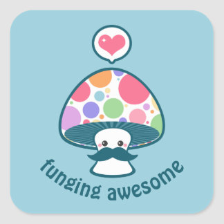 Cute Mushroom Funny Square Sticker