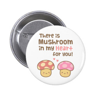 Cute Mushroom in my Heart For You Sweet Love 6 Cm Round Badge